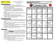 November 2016 calendar and curriculum expectations