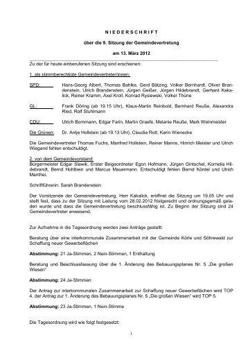 9. GeVe-Sitzung 13.03.2012 - Gemeinde Guxhagen