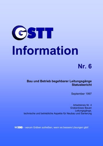 Nr. 6 Bau und Betrieb begehbarer Leitungsgänge Statusbericht