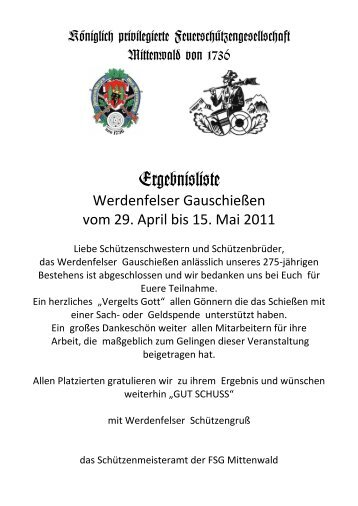 Meistbeteiligung der Vereine - Königlich privilegierte ...