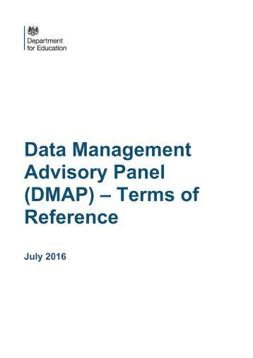 Advisory Panel (DMAP) – Terms of Reference