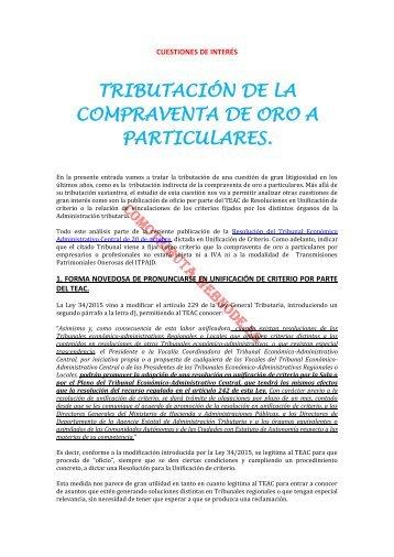 TRIBUTACIÓN DE LA COMPRAVENTA DE ORO A PARTICULARES