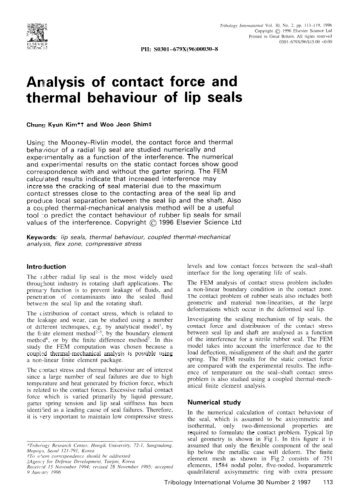 Kim and Shim Analysis of contact force and thermal behaviour of lip seals