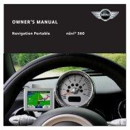 Garmin nuvi 360 GPS,OEM,MINI R56,NA - Owner's Manual