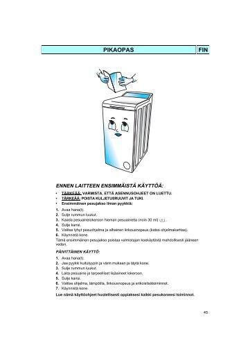 KitchenAid TT 1000 - Washing machine - TT 1000 - Washing machine FI (858430219200) Mode d'emploi