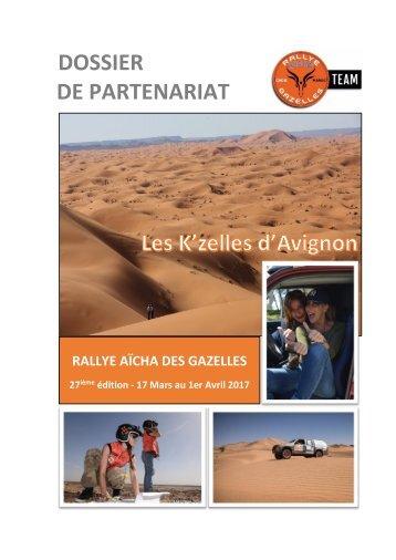 Rallye Aïcha des gazelles 2017 Dossier de recherche de sponsors Les K'zelles d'Avignon