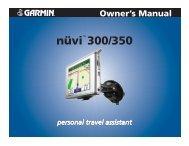 Garmin nuvi 350 GPS,Honda,North America - Owner's Manual