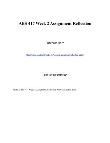 ABS 417 Week 2 Assignment Reflection