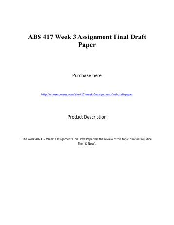 ABS 417 Week 3 Assignment Final Draft Paper