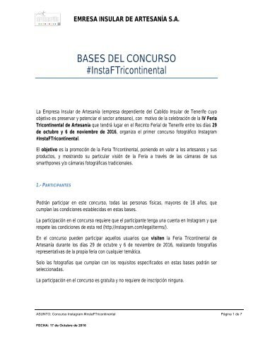 BASES DEL CONCURSO #InstaFTricontinental