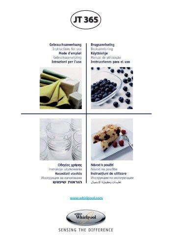 KitchenAid JT 365 WH - Microwave - JT 365 WH - Microwave SK (858736599290) Istruzioni per l'Uso