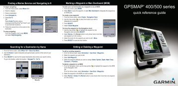 Garmin GPSMAP 441s - Quick Reference Guide