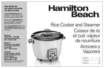 Hamilton Beach 4-16 Cup Capacity (Cooked) Digital Rice Cooker (37547) - Use and Care Guide