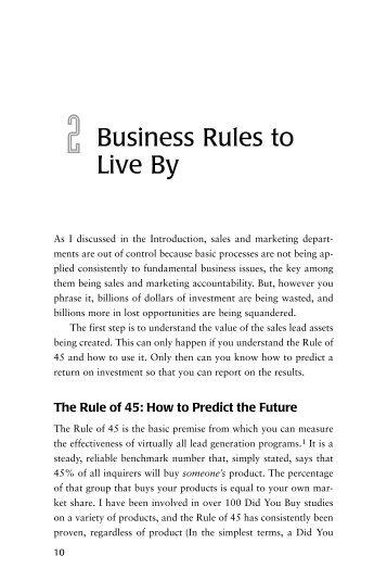 download a sample chapter (pdf) - Sales Lead Management ...