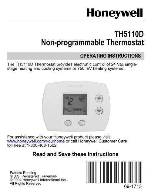 Wiring Diagram For Honeywell Th5220d : Honeywell th d wiring diagram