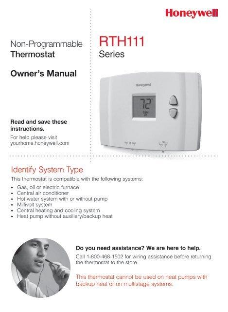 honeywell digital non programmable thermostat rth111b manual and rh manualsmania com Honeywell Thermostat RTH110B Troubleshooting Honeywell Thermostat RTH110B Troubleshooting