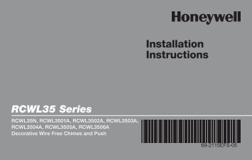 Honeywell Decor Wood Cover with Brass Accents - Wireless Chime & Push Button (RCWL3506A) - Decorative Wire Free Chimes and Push Button Installation Instructions (English, French, Spanish)