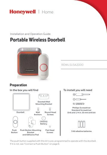 Honeywell Series 5 Wireless Portable Doorbell with Halo Light and Push Button (RDWL515A)  sc 1 st  Yumpu & wireless doorbell \u0026 telephone signaler model ... - Sonic Alert®.com