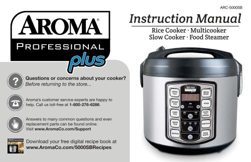 Aroma Aroma 20 Cup Rice Cooker Food Steamer Slow Cooker Arc