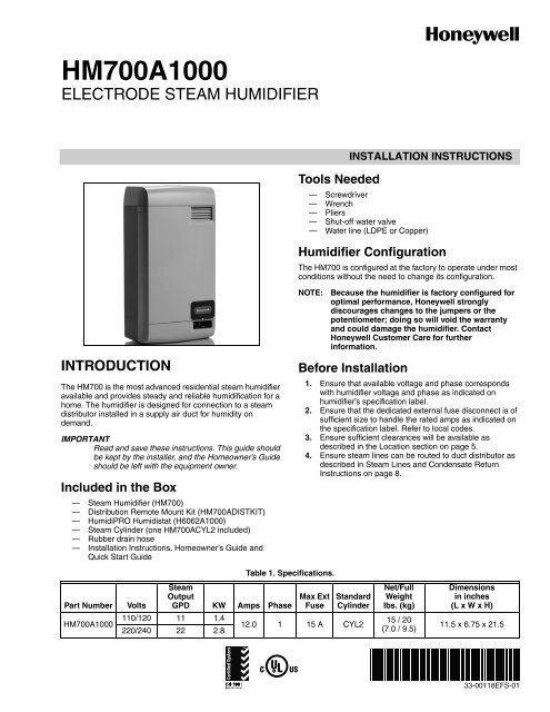 honeywell steam humidifier hm700a1000 energy star humidifiers  at readyjetset.co