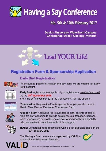 Registration Form & Sponsorship Application
