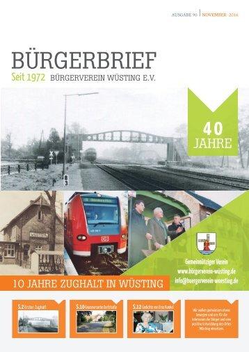 Bürgerbrief Vereinsheft Ausgabe 90 - November 2016 - Vereinsheft vom Bürgerverein Wüsting e.V.