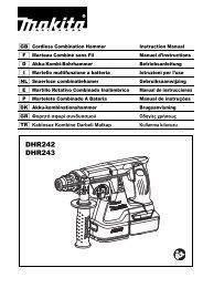 Makita Perfo-burineur SDS-Plus 18 V Li-Ion 5 Ah 24 mm - DHR243RTJ - Notice