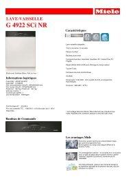 Miele Lave vaisselle encastrable 60 cm Miele G4922SCI NR - fiche produit