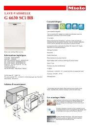 Miele Lave vaisselle encastrable 60 cm Miele G6630SCI BB - fiche produit