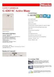Miele Lave vaisselle Miele G 4203 SC Active Blanc - fiche produit