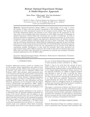 Robust Optimal Experiment Design: A Multi-Objective Approach