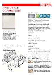 Miele Lave vaisselle encastrable 60 cm Miele G6730SCI NR - fiche produit