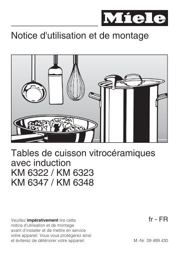 Miele Table induction Miele KM6347 - notice