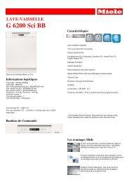 Miele Lave vaisselle encastrable 60 cm Miele G6200SCI BB - fiche produit