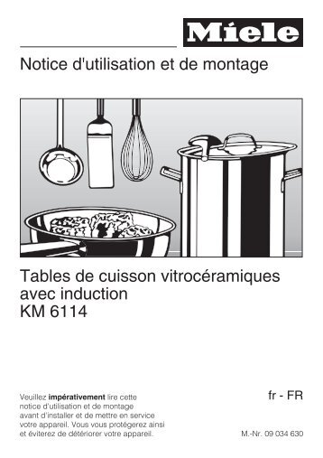 Miele Table induction Miele KM6114 - notice