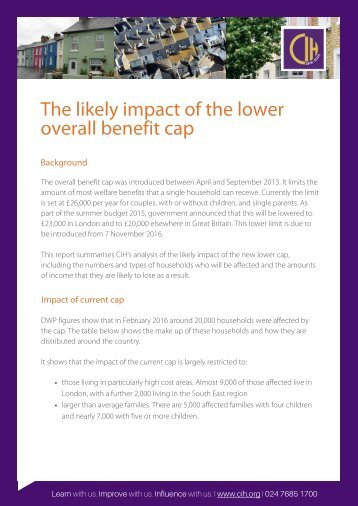 likely impact of the lower The benefit cap overall