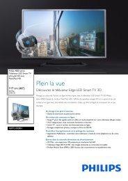Philips 4000 series Téléviseur Edge LED Smart TV 3D - Fiche Produit - FRA