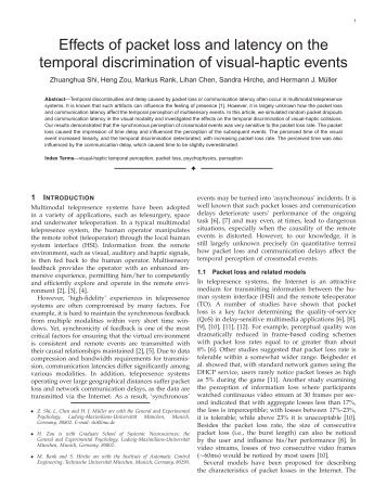 Effects of packet loss and latency on the temporal ... - LSR - TUM