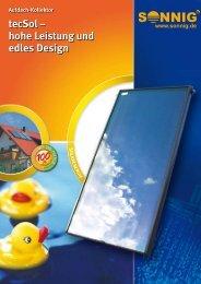 Aufdach-Kollektor tecSol – hohe Leistung und edles Design