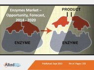 Enzymes Market - The Industry Set to Grow Positively