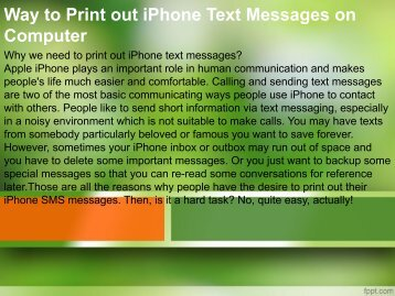 Way to Print out iPhone Text Messages on Computer