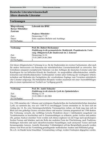 Deutsche Literaturwissenschaft Ältere deutsche Literatur Vorlesungen