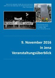 9 November 2016 in Jena Veranstaltungsüberblick
