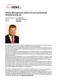 Interim Management stellt sich auf zunehmende ... - Fair-news.de