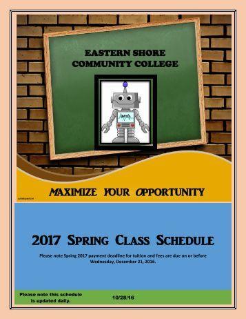 2017 Spring Class Schedule
