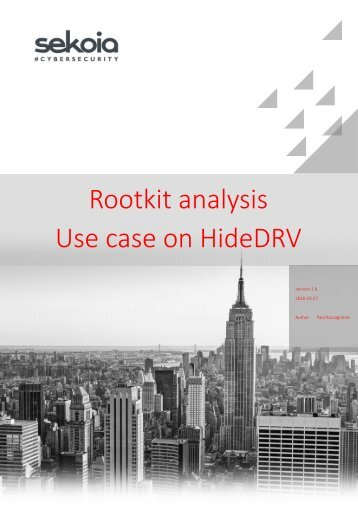 Rootkit analysis Use case on HideDRV