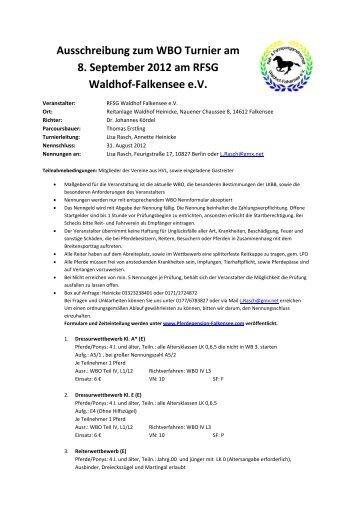Ausschreibung zum WBO Turnier am 8. September 2012 am RFSG ...