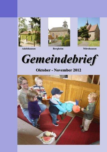 Gemeindebrief Oktober bis November 2012