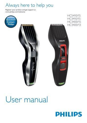 Philips Hairclipper series 3000 Tondeuse à cheveux - Mode d'emploi - ENG