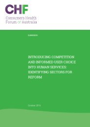 AND INFORMED USER CHOICE INTO HUMAN SERVICES IDENTIFYING SECTORS FOR REFORM